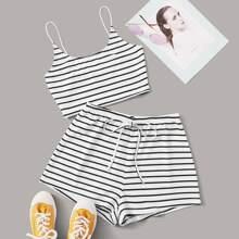 Camisole mit Streifen und Shorts Set mit Tailleband