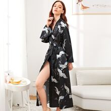 Robe largo de saten con estampado de grulla