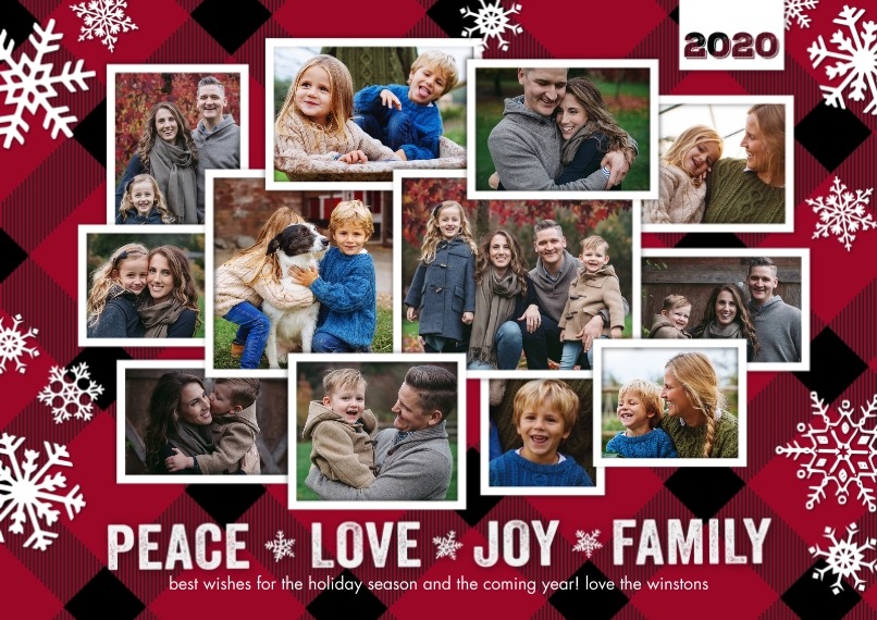 Christmas Photo Cards 5x7 Cards, Premium Cardstock 120lb with Scalloped Corners, Card & Stationery -2020 Christmas Peace Love Joy Family by Tumbalina