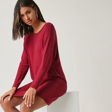 Solid Batwing Sleeve Tee Dress