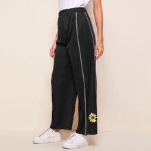 Floral Print Contrast Topstitching Pants