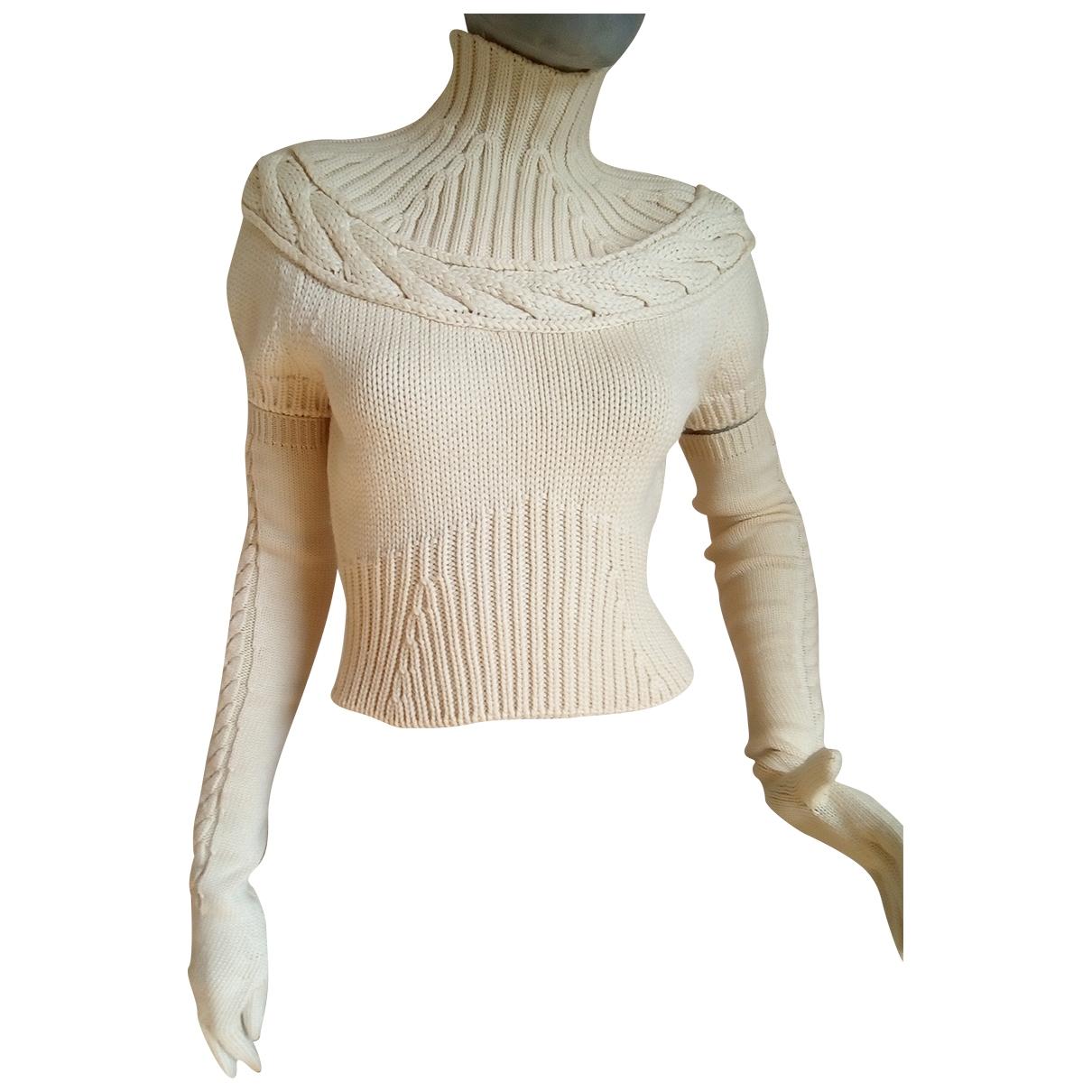 Thierry Mugler - Pull   pour femme en laine - ecru