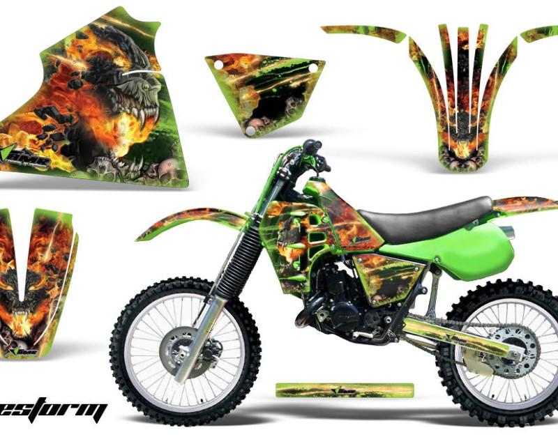 AMR Racing Dirt Bike Decal Graphic Kit Sticker Wrap For Kawasaki KX125 1983-1985áFIRESTORM GREEN