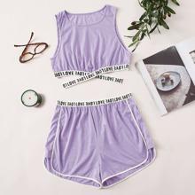 Pajama Set mit Buchstaben Muster und Kontrast Bindung