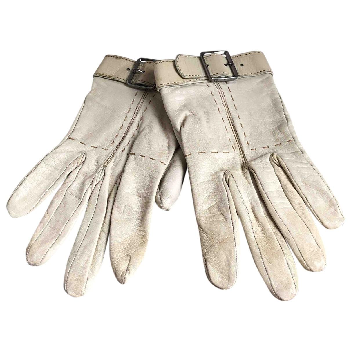 Gucci \N Handschuhe in  Ecru Leder