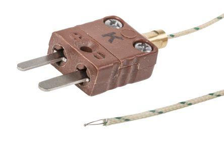 Reckmann Type K Thermocouple 500mm Length, 1.4mm Diameter → +900°C