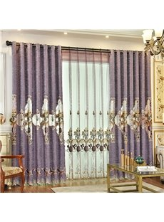 European Classic Embroidered Chenille Custom Grommet Curtains for Living Room Bedroom