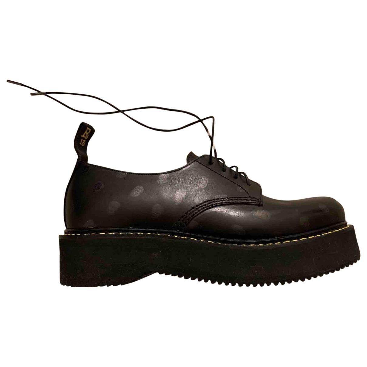 R13 - Derbies   pour femme en cuir - noir