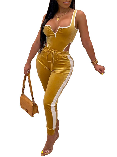 Milanoo Two Piece Sets Yellow Velour U-Neck Color Block Zipper Athletic Sleeveless Women Outfit