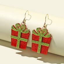 Maedchen Ohrringe mit Weihnachtsgeschenk Dekor