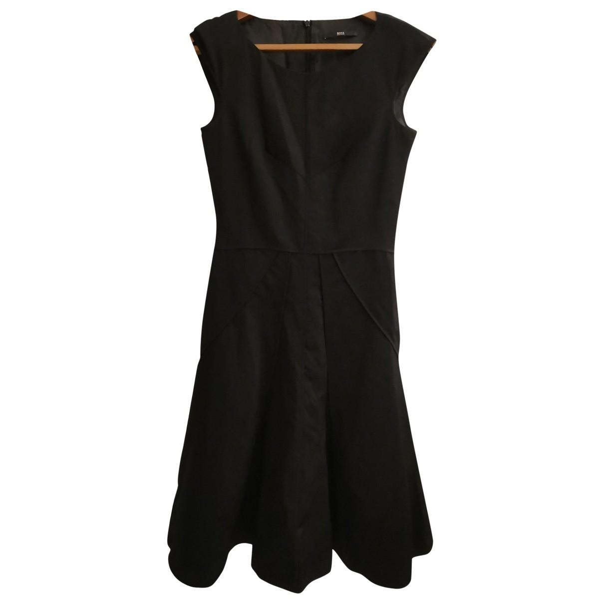 Hugo Boss \N Kleid in  Schwarz Baumwolle