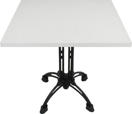 Q403 36X36-CA18-27H 36x36 Snow White Quartz Tabletop with 20