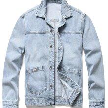 Denim Jacke mit Buchstaben Flicken und zwei Taschen