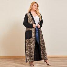 Plus Contrast Leopard Open Front Kimono