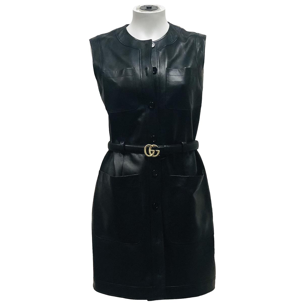 Check 1 - Robe   pour femme en cuir - noir