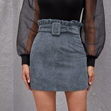Falda de pana con cinturon con hebilla de cintura con volante