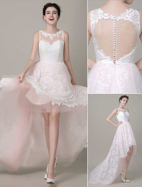Milanoo Vestido de novia de encaje escote barco de encaje