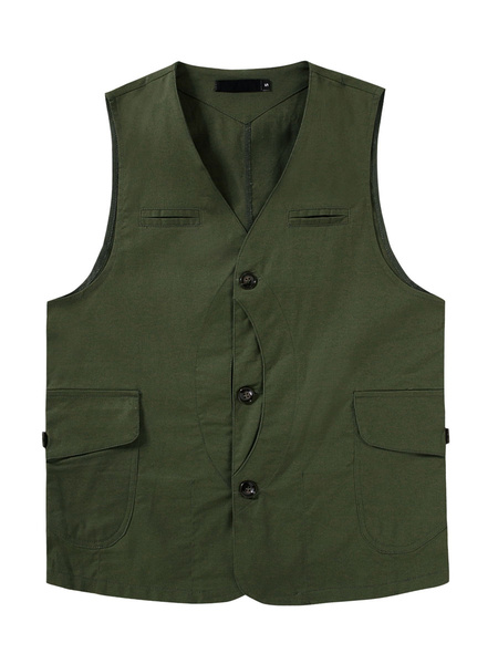 Milanoo Utility Vest Pocket Fishing Outdoor Waistcoat Sleeveless Jacket
