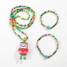3pcs Girls Cartoon Charm Necklace & Bracelet & Anklet