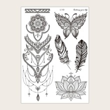 1 hoja pegatina de tatuaje con patron de mariposa