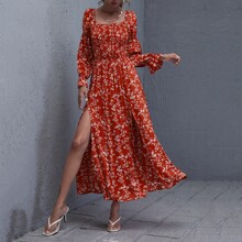 Gather Sleeve Shirred Bodice Split Thigh Floral Dress