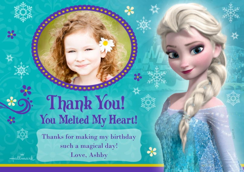 Kids Thank You Cards 5x7 Cards, Premium Cardstock 120lb with Scalloped Corners, Card & Stationery -You Melted My Heart - Frozen