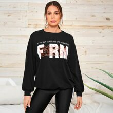 Chinese Slogan Graphic Drop Shoulder Oversized Pullover