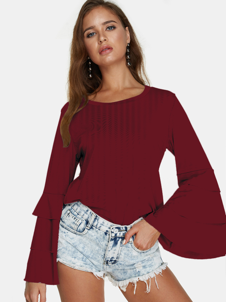 Yoins Red Round Neck Long Bell Sleeves Blouse