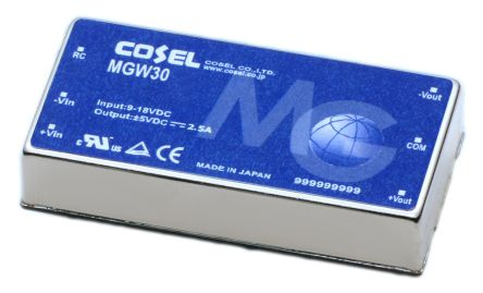 Cosel 30W Isolated DC-DC Converter Through Hole, Voltage in 18 → 36 V dc, Voltage out ±12V dc