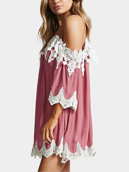 Yoins Pink Adjustable Shoulder Straps Lace Trim 3/4 Length Sleeves dress