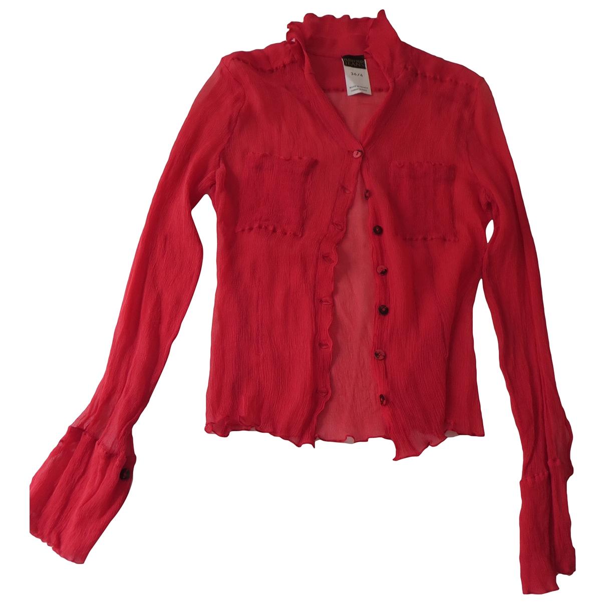 Plein Sud - Top   pour femme en soie - rouge