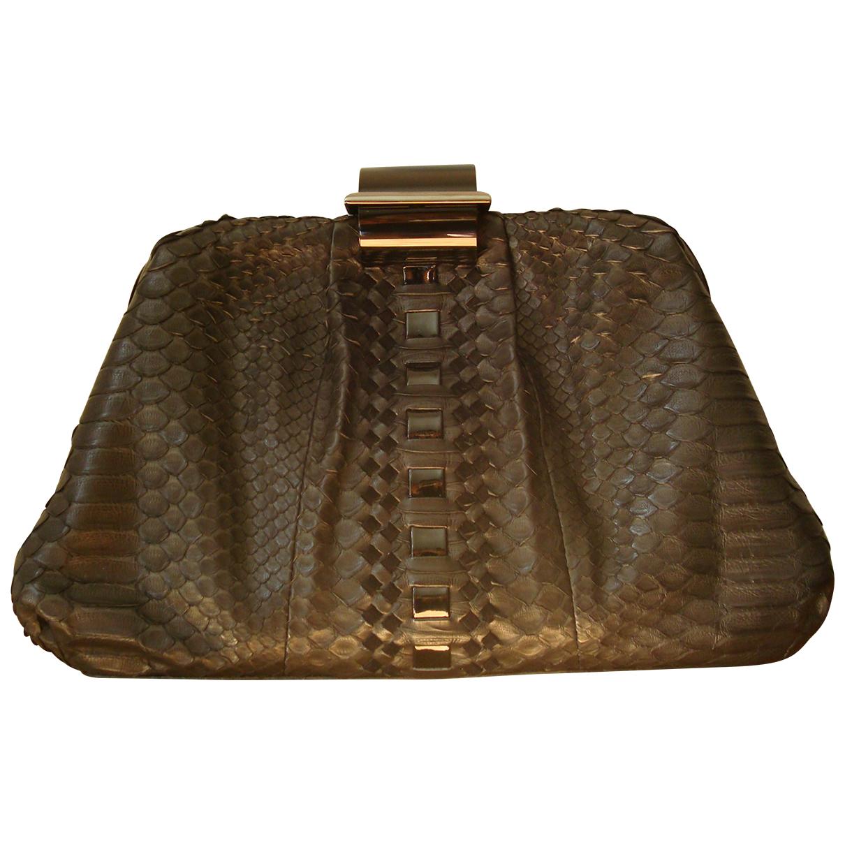 Salvatore Ferragamo \N Black Python Clutch bag for Women \N