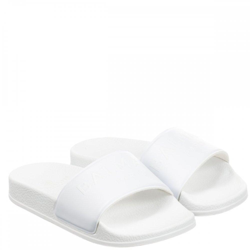 Balmain Embroidered Logo Sliders Size: 36, Colour: WHITE