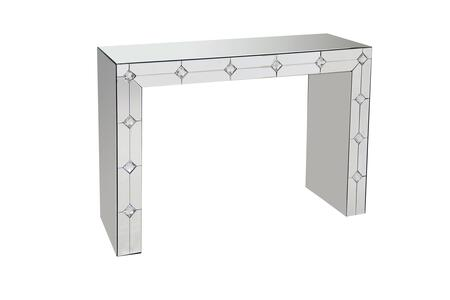 BM177701 Diamond Front Mirrored Rectangular Sled Console Table