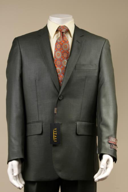 2Button Textured Weave Patterned Shiny Sharkskin Suit Charcoal Gray