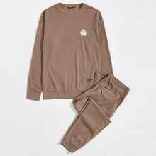 Conjunto pullover con bordado de dibujo con pantalones de cintura con cordon