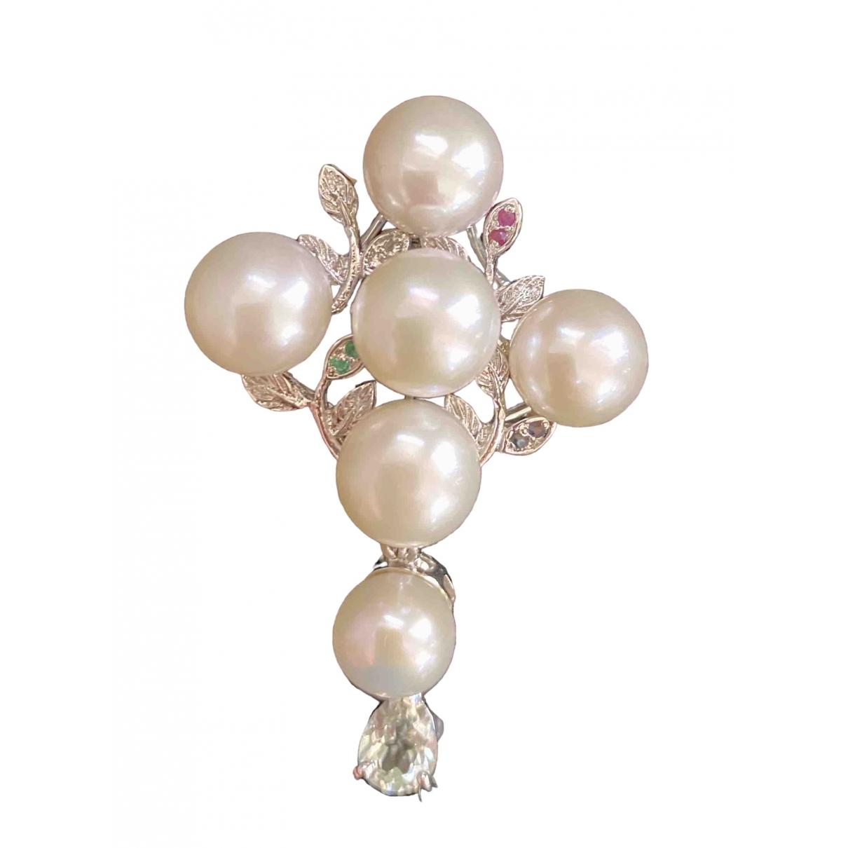 - Broche Croix pour femme en metal - blanc