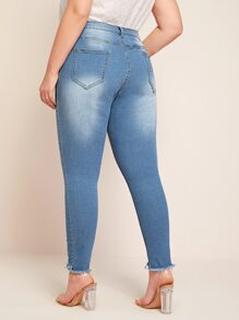 Plus Ripped Raw Hem Skinny Wash Jeans