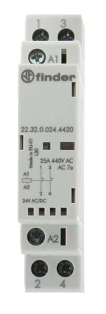 Finder , 24V ac/dc Coil Non-Latching Relay DPNC, 25A Switching Current DIN Rail, 2 Pole