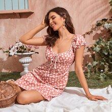 Kleid mit Scoop Ausschnitt und Blumen Muster