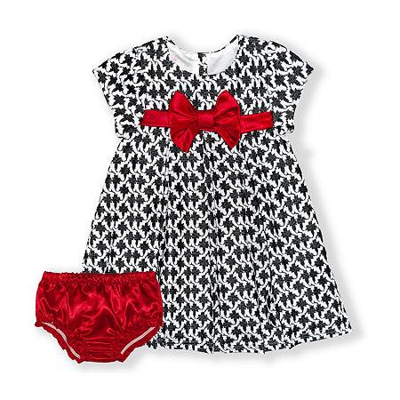 Nannette Baby Girls Short Sleeve Dress Set, 24 Months , Black