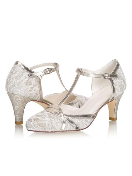Milanoo Vintage Wedding Shoes T-type Kitten Heel Bridal Shoes