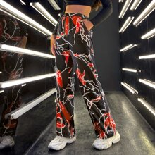 Lightning Print Wide Leg Pants