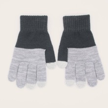 Men Two Tone Cable Knit Gloves