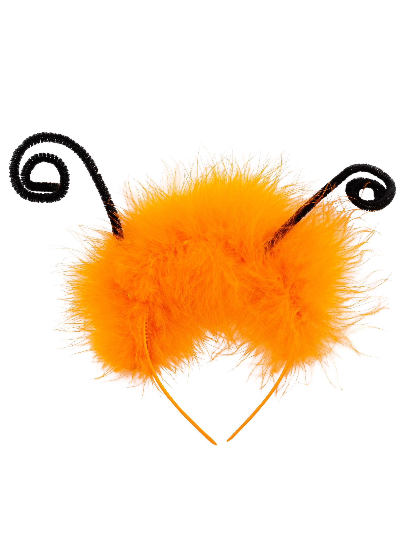Kostuemzubehor Haarreif Schmetterling mit Federn orange