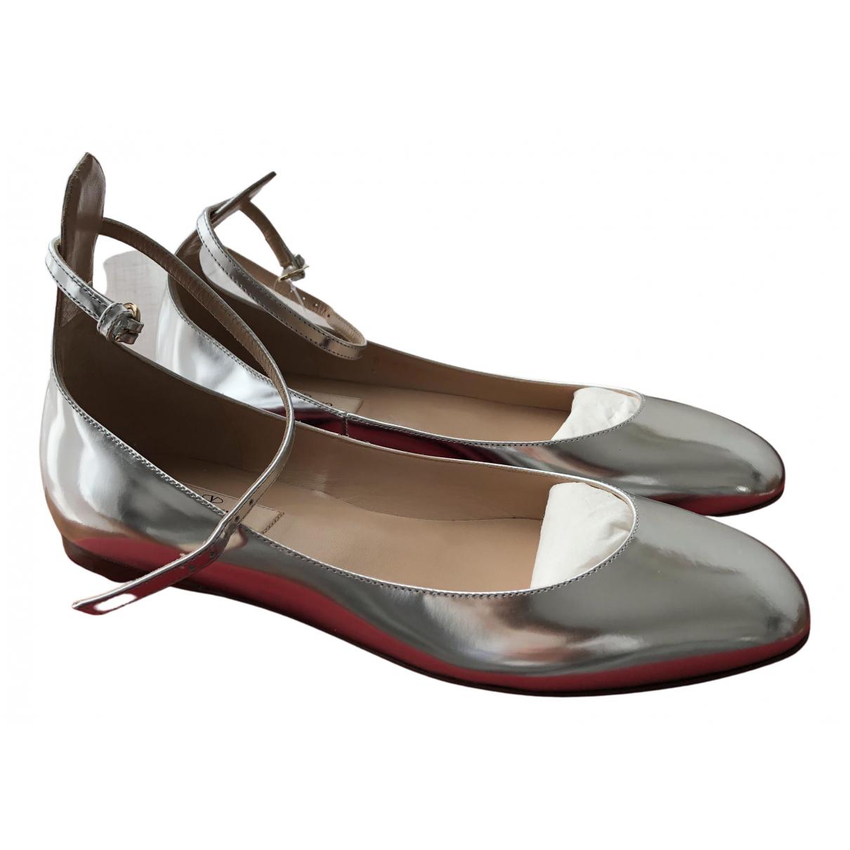 Valentino Garavani - Ballerines Tango pour femme en cuir - argente