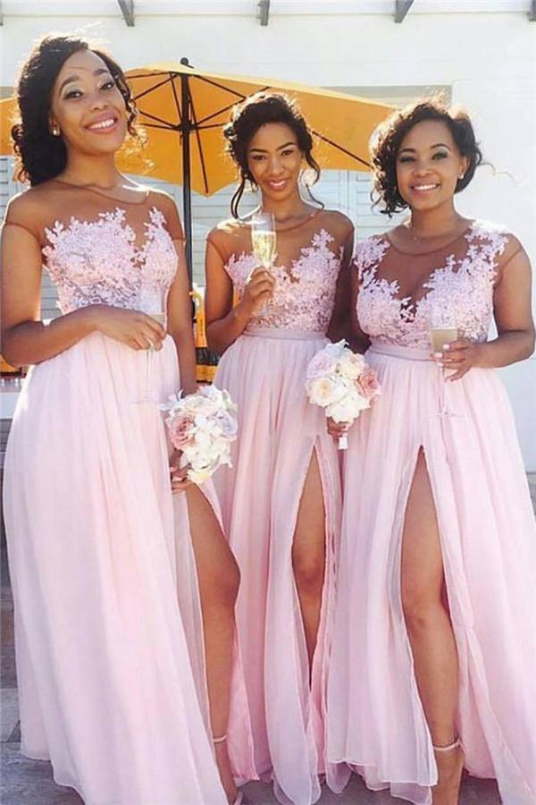 Pink Lace Chiffon Sexy vestidos de dama de honor Splits vestido largo para Maid of Honor Online BA6919