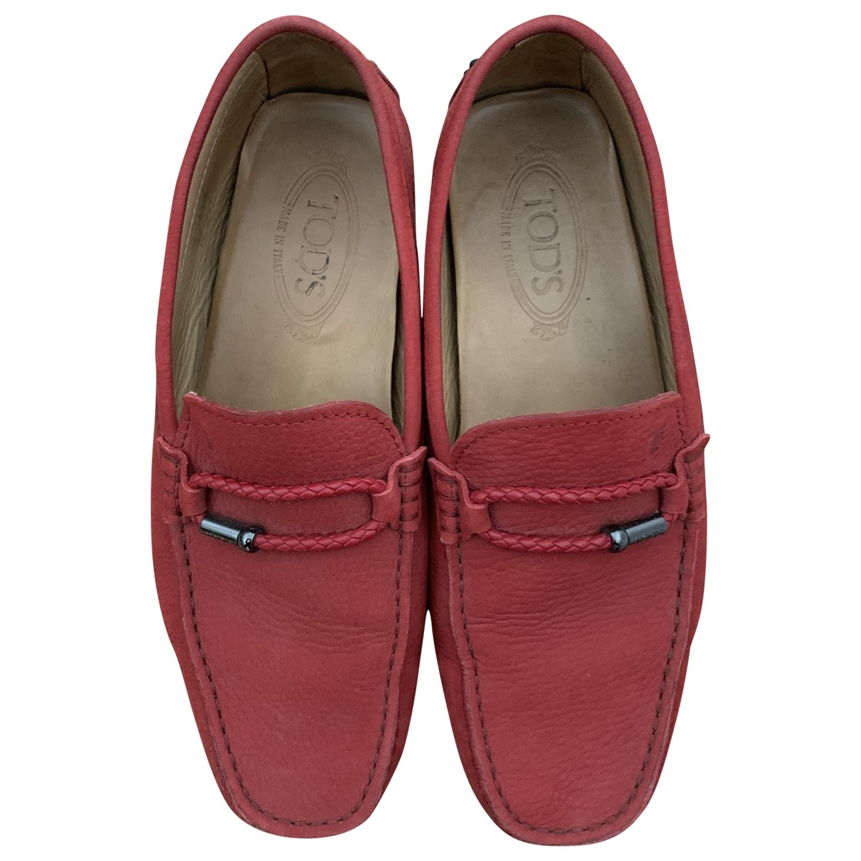 Tod's \N Red Leather Flats for Men 41 EU