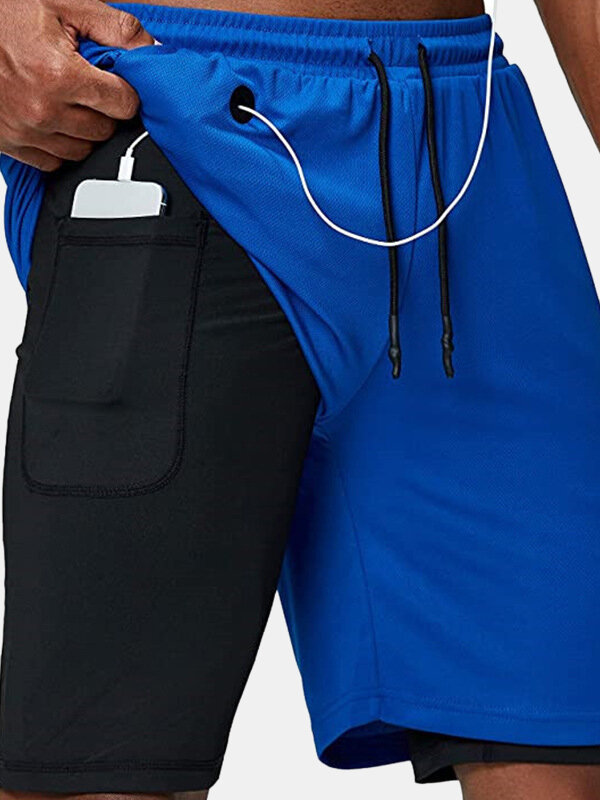 Breathable 2 In 1 Compression Liner Mesh Breathable Running Gym Shorts With Zipper Pocket