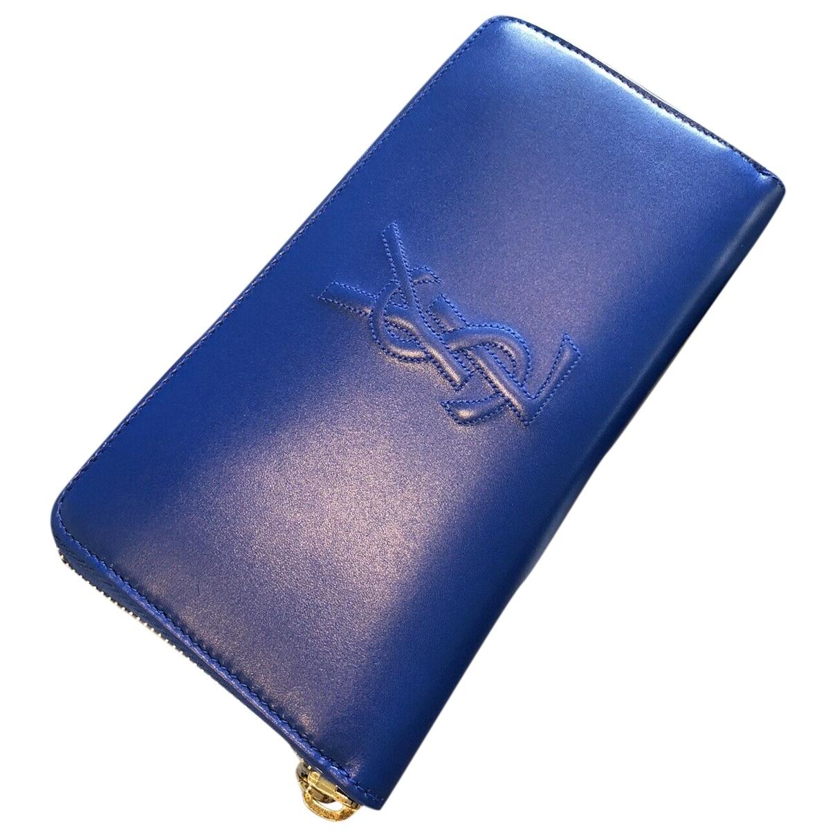 Yves Saint Laurent \N Portemonnaie in  Blau Leder